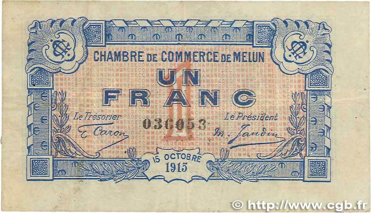 1 franc france r gionalisme et divers melun 1915 b99 1004 billets. Black Bedroom Furniture Sets. Home Design Ideas