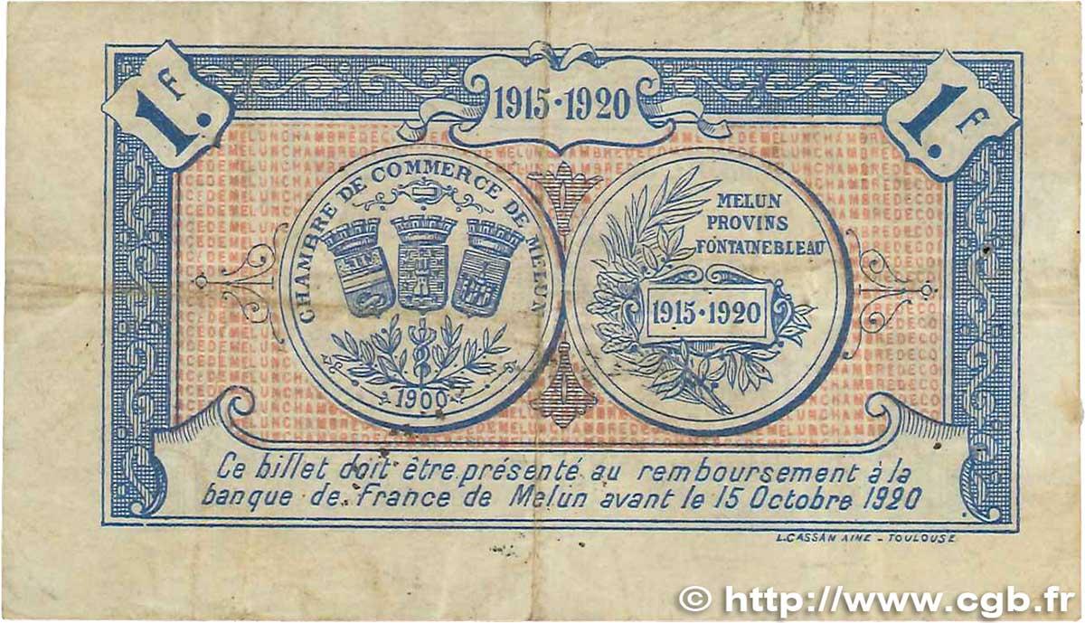 1 franc france r gionalisme et divers melun 1915 pr ttb b99 1004 billets. Black Bedroom Furniture Sets. Home Design Ideas