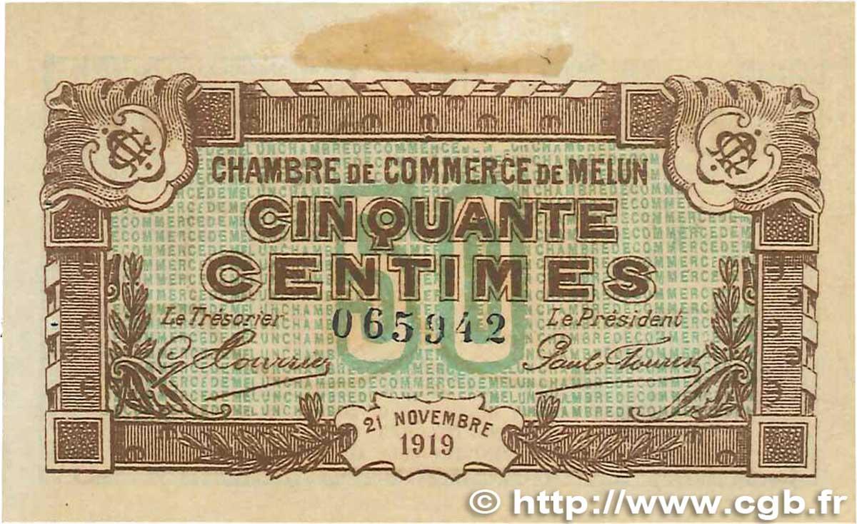 50 centimes france r gionalisme et divers melun 1919 b99 1006 billets. Black Bedroom Furniture Sets. Home Design Ideas