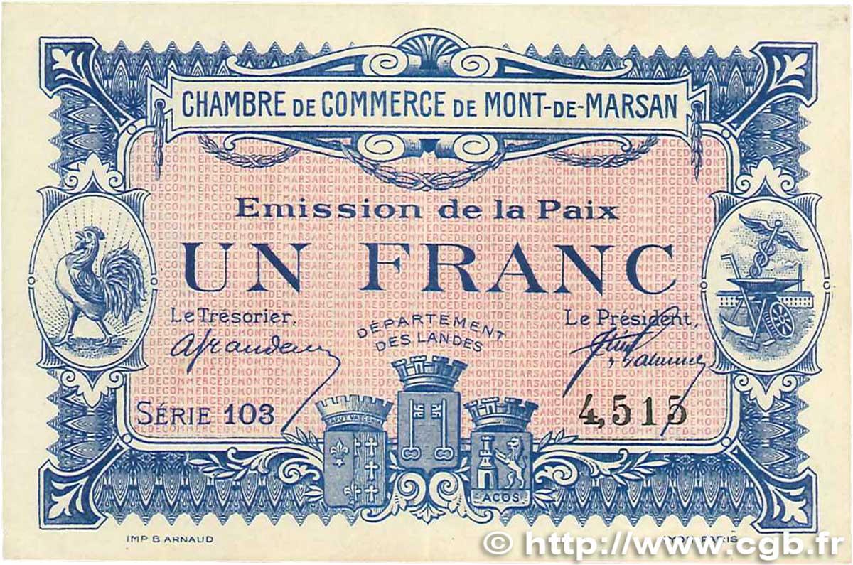 1 franc france r gionalisme et divers mont de marsan 1918 b99 1018 billets. Black Bedroom Furniture Sets. Home Design Ideas
