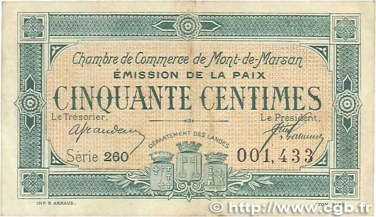 50 centimes france r gionalisme et divers mont de marsan 1921 b99 1020 billets. Black Bedroom Furniture Sets. Home Design Ideas