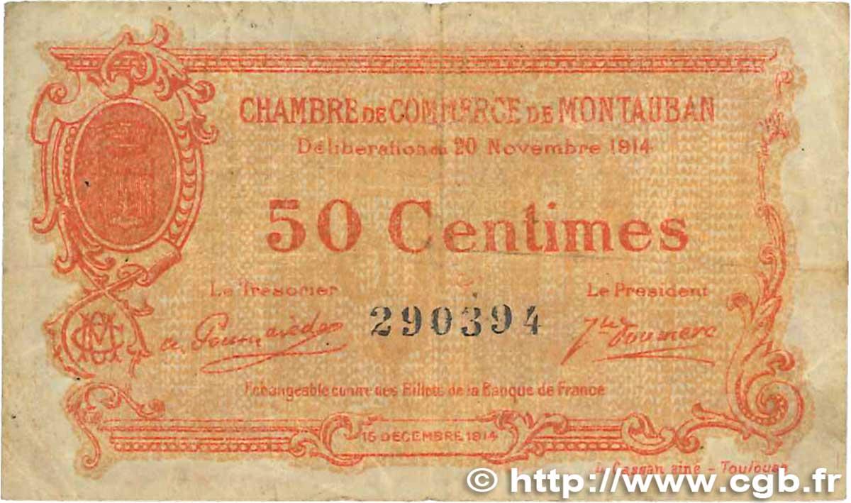 50 centimes france r gionalisme et divers montauban 1914 b99 1022 billets. Black Bedroom Furniture Sets. Home Design Ideas