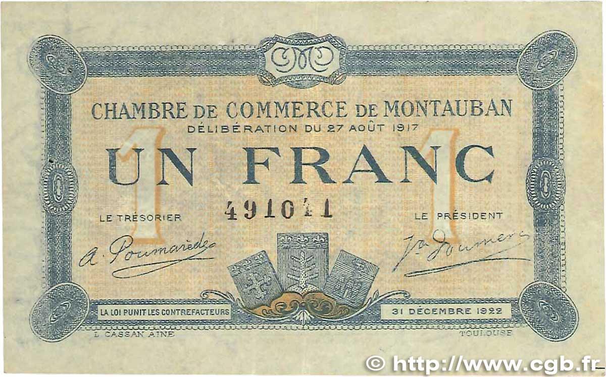 1 franc france r gionalisme et divers montauban 1917 jp for Chambre de commerce montauban
