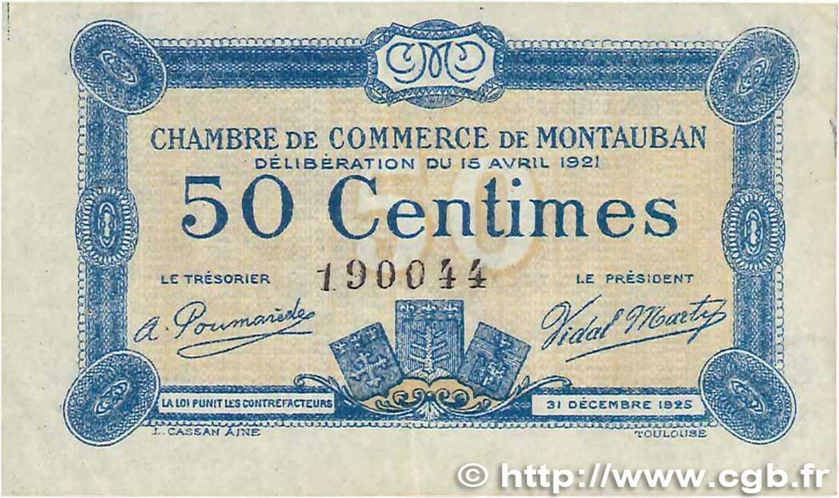 50 centimes france r gionalisme et divers montauban 1921 b99 1029 billets. Black Bedroom Furniture Sets. Home Design Ideas