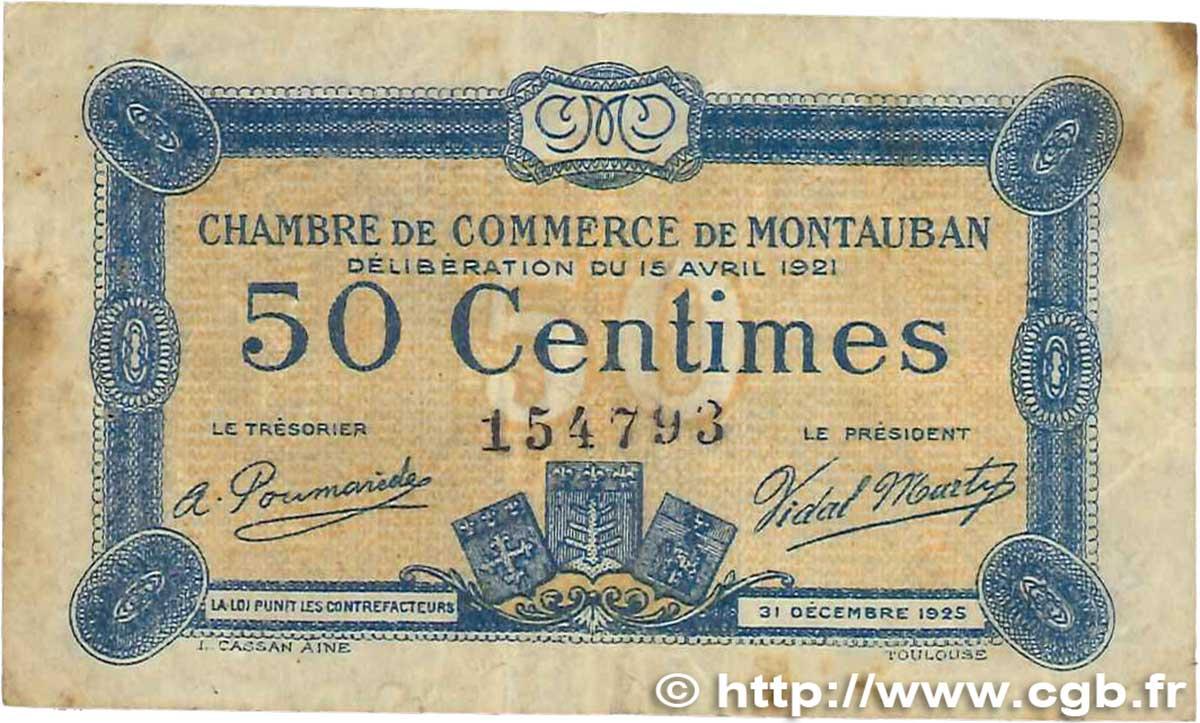 50 centimes france r gionalisme et divers montauban 1921 for Chambre de commerce montauban
