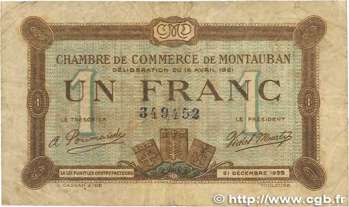 1 franc france r gionalisme et divers montauban 1921 tb b99 1032 billets. Black Bedroom Furniture Sets. Home Design Ideas