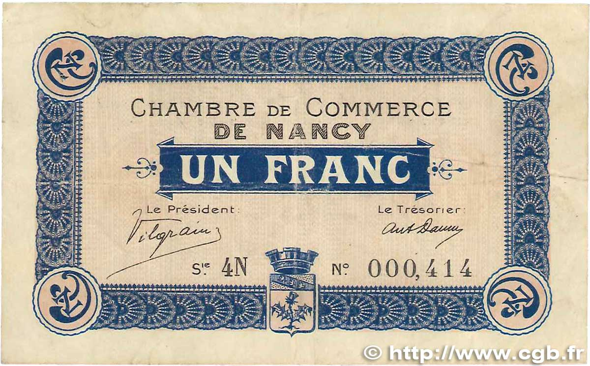 1 Franc FRANCE régionalisme et divers Nancy 1916 JP.087.09 TTB
