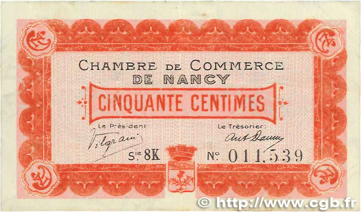 50 Centimes FRANCE régionalisme et divers NANCY 1917 JP.087.16 TTB