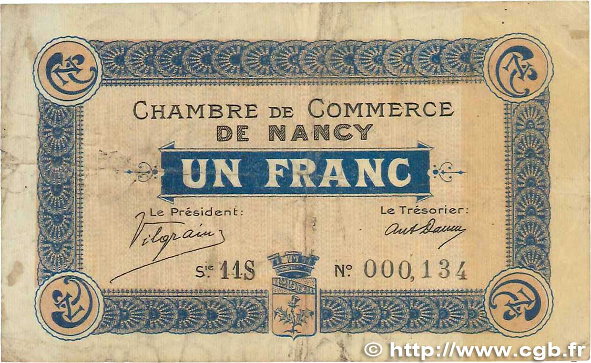1 Franc FRANCE régionalisme et divers NANCY 1918 JP.087.21 TB