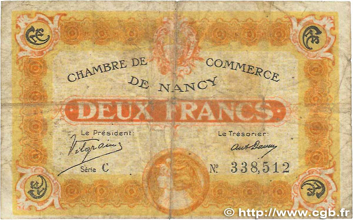 2 Francs FRANCE régionalisme et divers Nancy 1918 JP.087.25 B