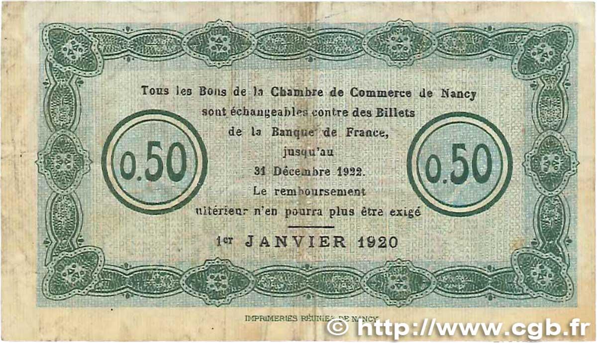 50 centimes france r gionalisme et divers nancy 1920 tb b99 1109 billets. Black Bedroom Furniture Sets. Home Design Ideas