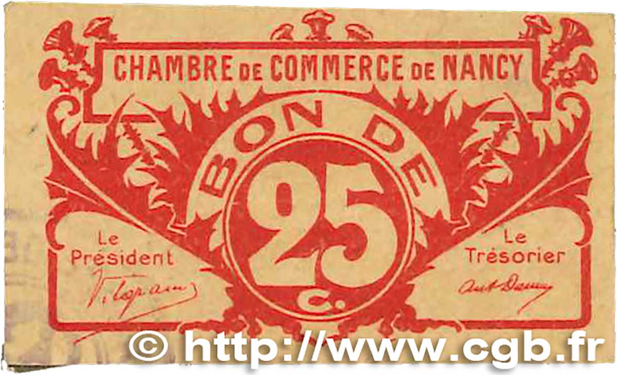25 Centimes FRANCE régionalisme et divers NANCY 1918 JP.087.64 TTB
