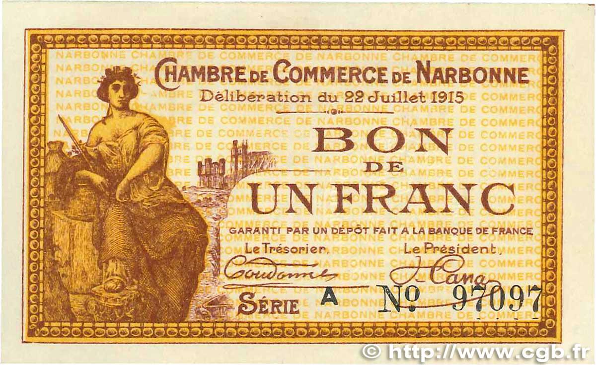 1 franc france r gionalisme et divers narbonne 1915 b99 1142 billets - Boutique orange narbonne ...