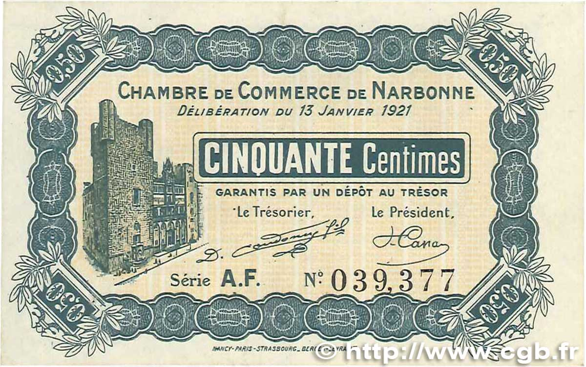 50 centimes france r gionalisme et divers narbonne 1921 b99 1148 billets - Boutique orange narbonne ...