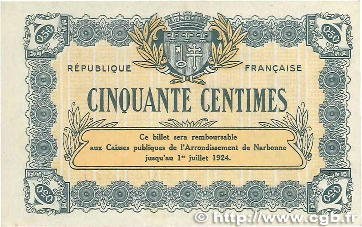 50 centimes france r gionalisme et divers narbonne 1921 sup b99 1148 billets - Boutique orange narbonne ...