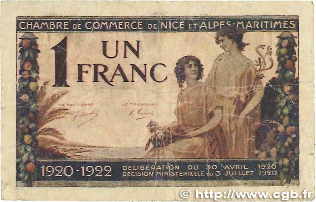 1 franc france r gionalisme et divers nice 1920 - Chambre de commerce grasse ...