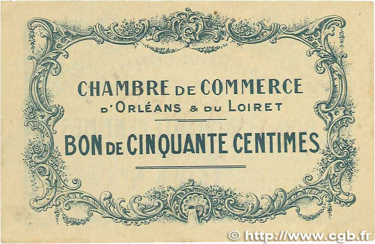 50 centimes france r gionalisme et divers orl ans 1914 jp for Chambre de commerce orleans