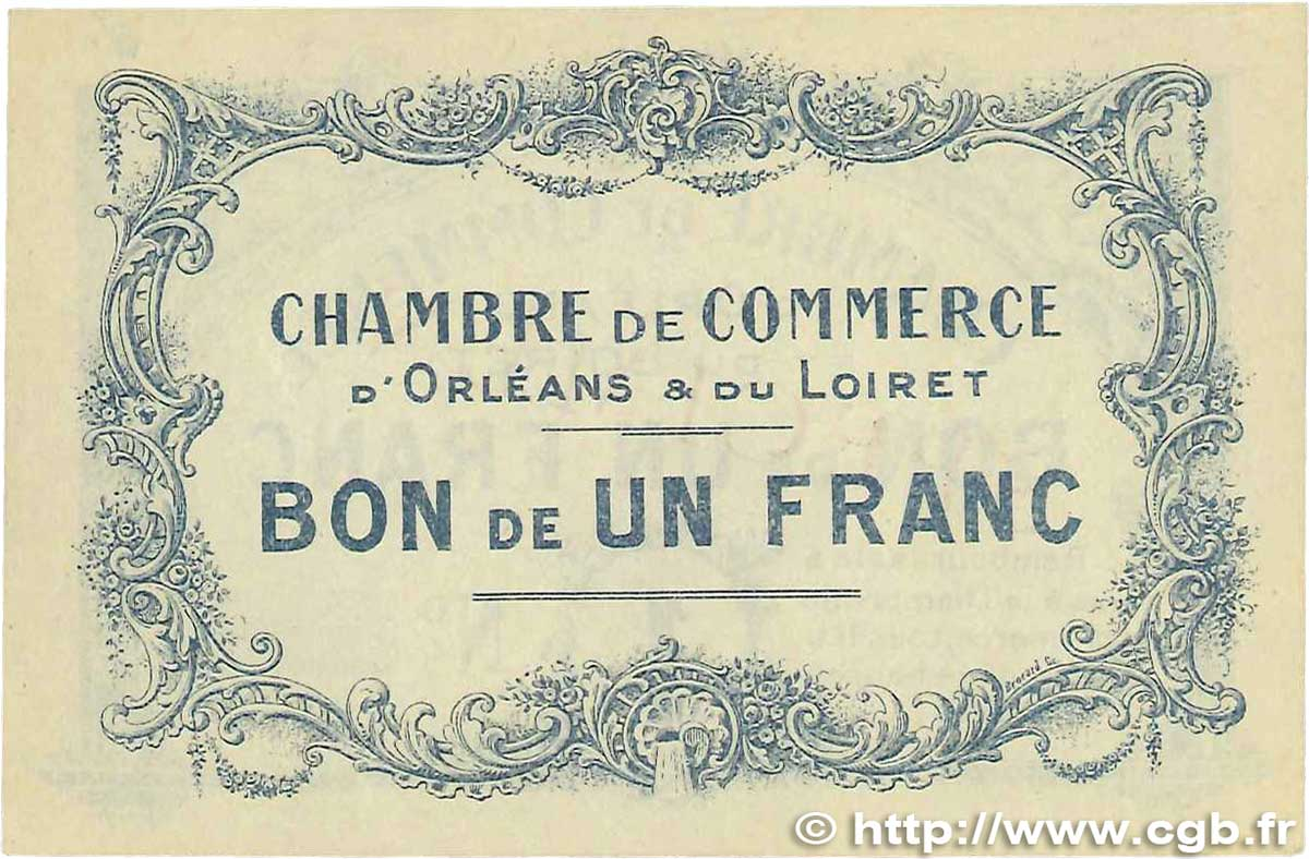 1 franc france r gionalisme et divers orl ans 1914 for Chambre de commerce orleans