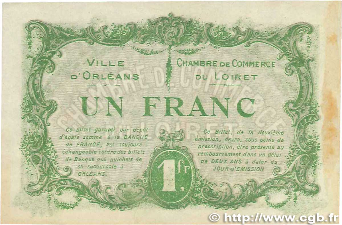 1 franc france regionalism and various orl ans 1916 axf b99 1280 banknotes. Black Bedroom Furniture Sets. Home Design Ideas