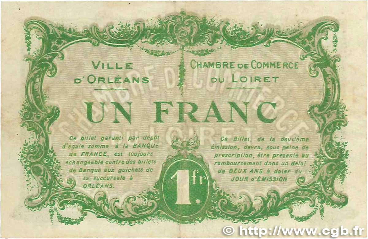 1 franc france regionalism and various orl ans 1916 vf b99 1282 banknotes. Black Bedroom Furniture Sets. Home Design Ideas