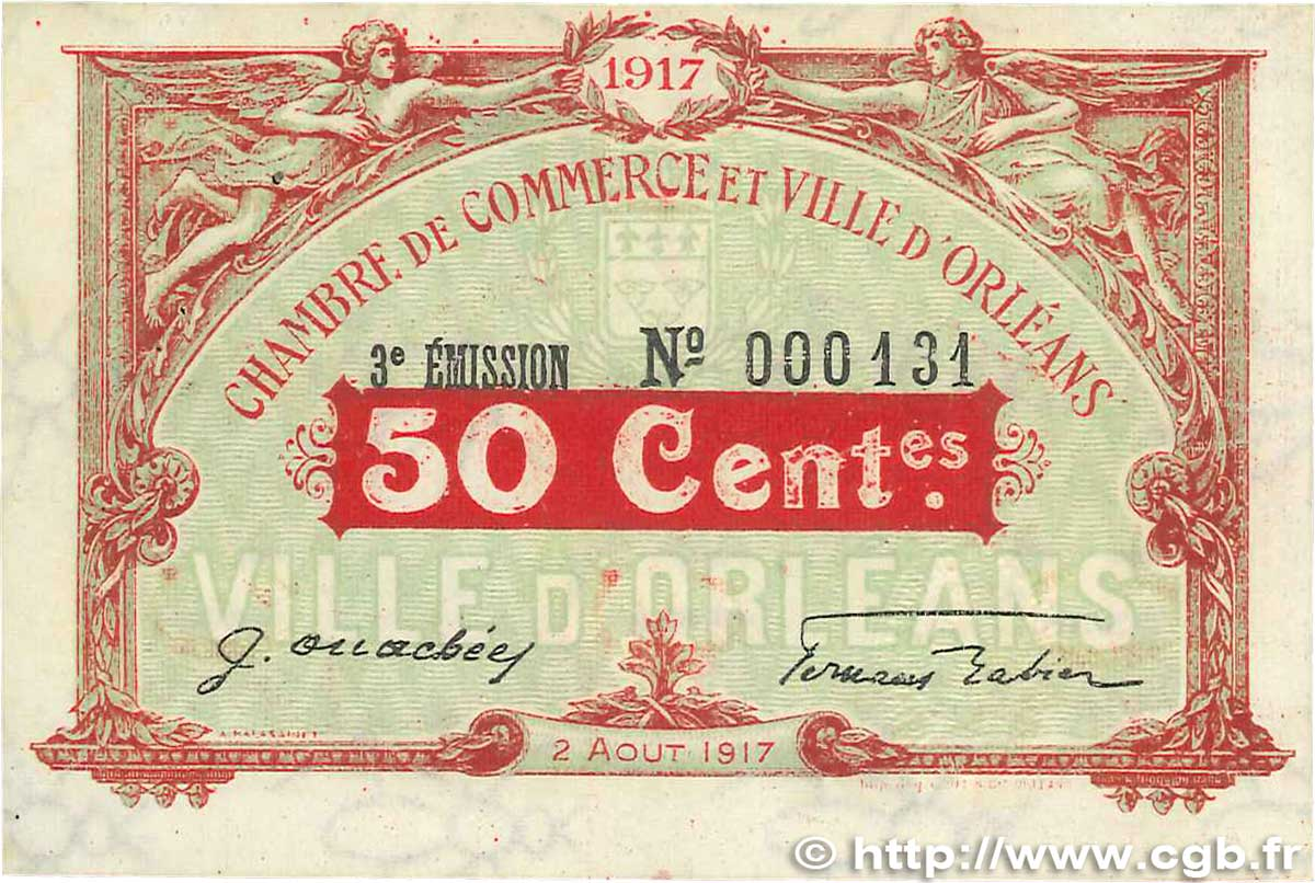 50 centimes france regionalism and miscellaneous orl ans 1917 b99 1298 banknotes. Black Bedroom Furniture Sets. Home Design Ideas