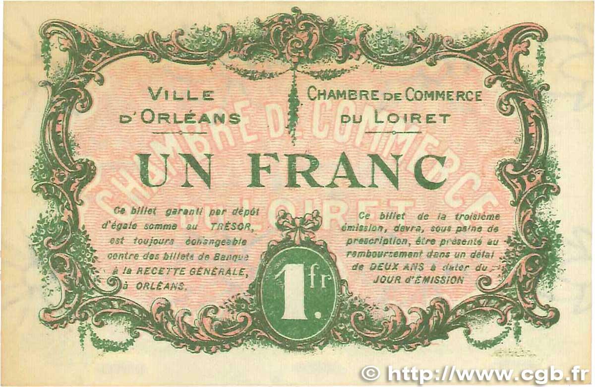 1 franc france r gionalisme et divers orl ans 1917 sup b99 1300 billets. Black Bedroom Furniture Sets. Home Design Ideas