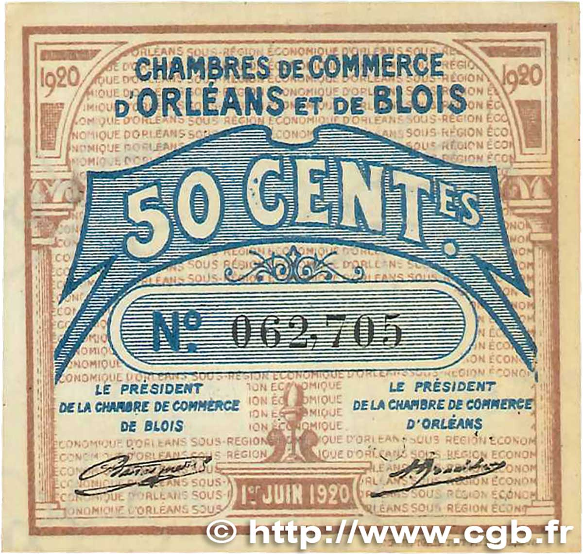 50 centimes france regionalism and miscellaneous orl ans et blois 1920 aau b99 1303. Black Bedroom Furniture Sets. Home Design Ideas