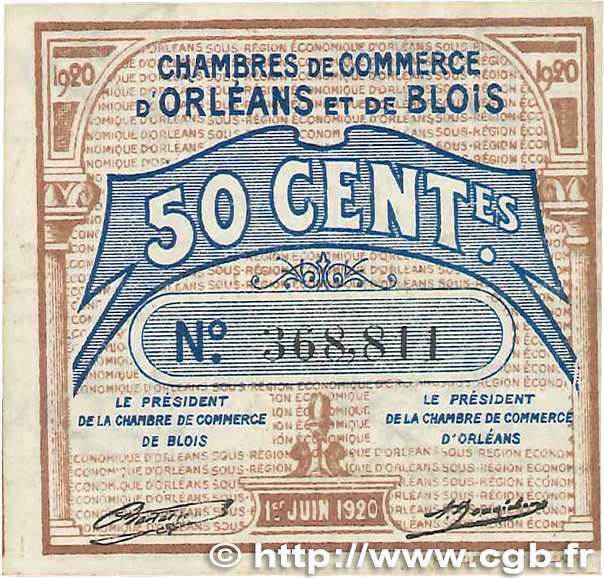 50 centimes france regionalism and various orl ans et for Chambre de commerce orleans