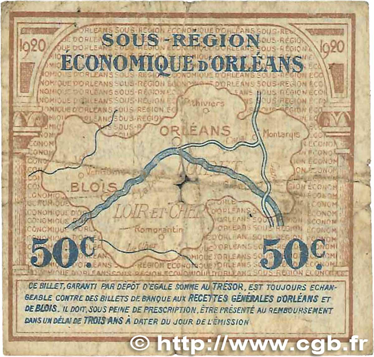 50 centimes france r gionalisme et divers orl ans et blois 1920 b b99 1311 billets. Black Bedroom Furniture Sets. Home Design Ideas