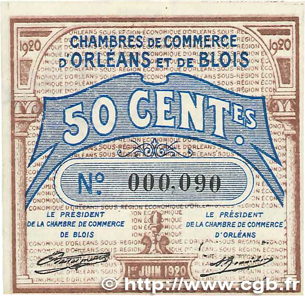 50 centimes france regionalism and miscellaneous orl ans et blois 1920 b99 1312 banknotes. Black Bedroom Furniture Sets. Home Design Ideas