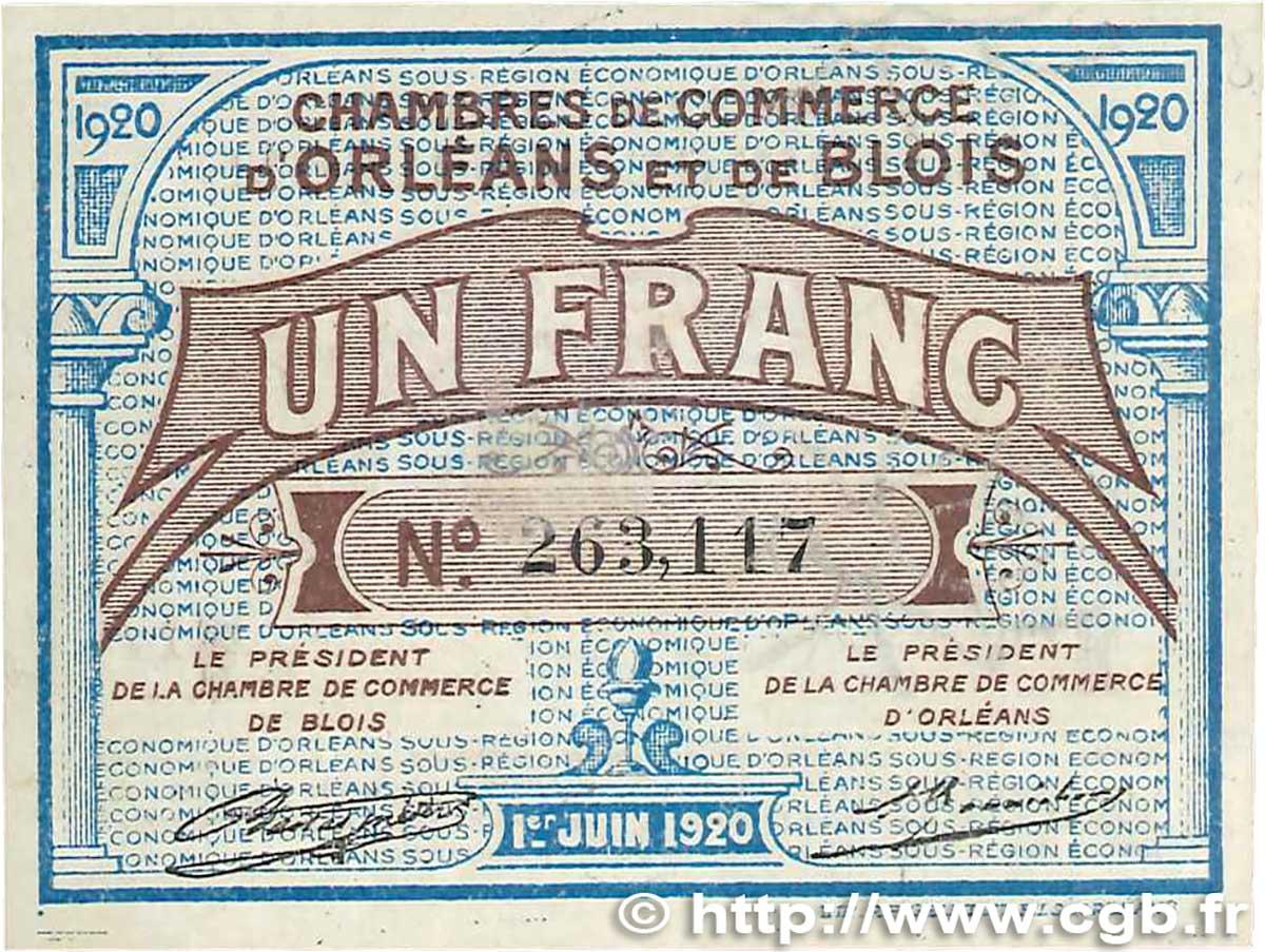 1 franc france regionalism and various orl ans et blois 1920 xf b99 1316 banknotes. Black Bedroom Furniture Sets. Home Design Ideas