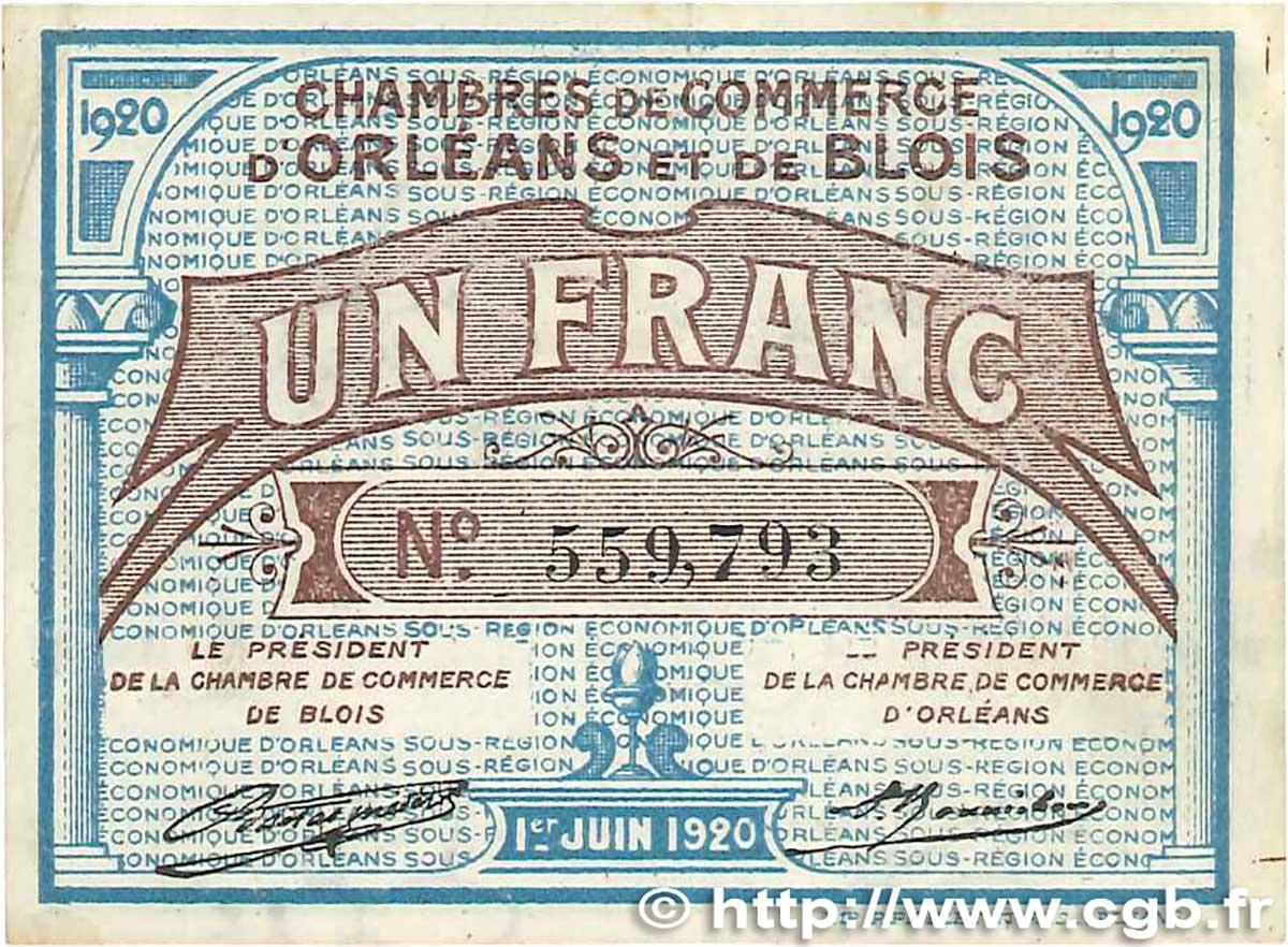 1 franc france r gionalisme et divers orl ans et blois 1920 b99 1319 billets. Black Bedroom Furniture Sets. Home Design Ideas