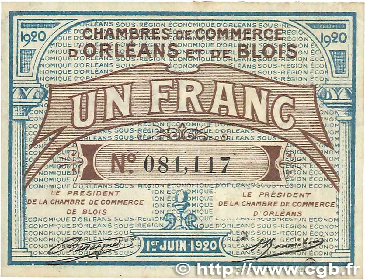 1 franc france r gionalisme et divers orl ans et blois 1920 b99 1320 billets. Black Bedroom Furniture Sets. Home Design Ideas