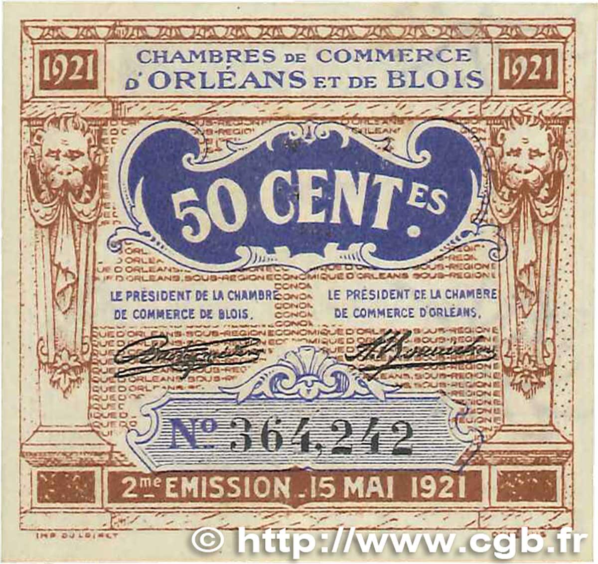 50 centimes france r gionalisme et divers orl ans et blois 1921 b99 1325 billets - Chambre du commerce blois ...