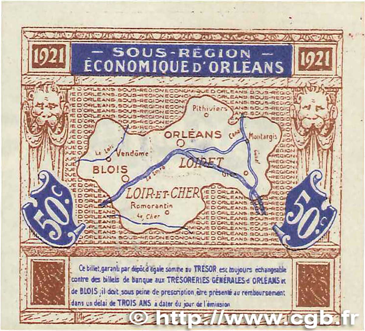 50 centimes france regionalism and various orl ans et blois 1921 xf b99 1330 banknotes. Black Bedroom Furniture Sets. Home Design Ideas