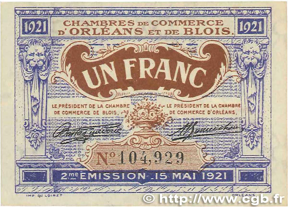 1 franc france r gionalisme et divers orl ans et blois 1921 sup b99 1331 billets. Black Bedroom Furniture Sets. Home Design Ideas