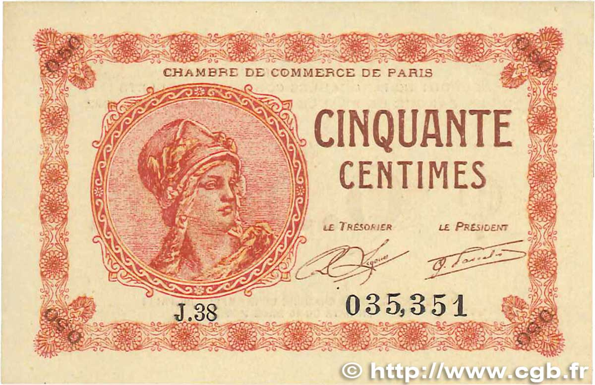 50 Centimes FRANCE régionalisme et divers PARIS 1920 JP.097.10 SUP