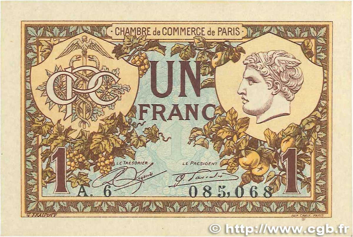 1 Franc FRANCE régionalisme et divers Paris 1920 JP.097.36 SUP