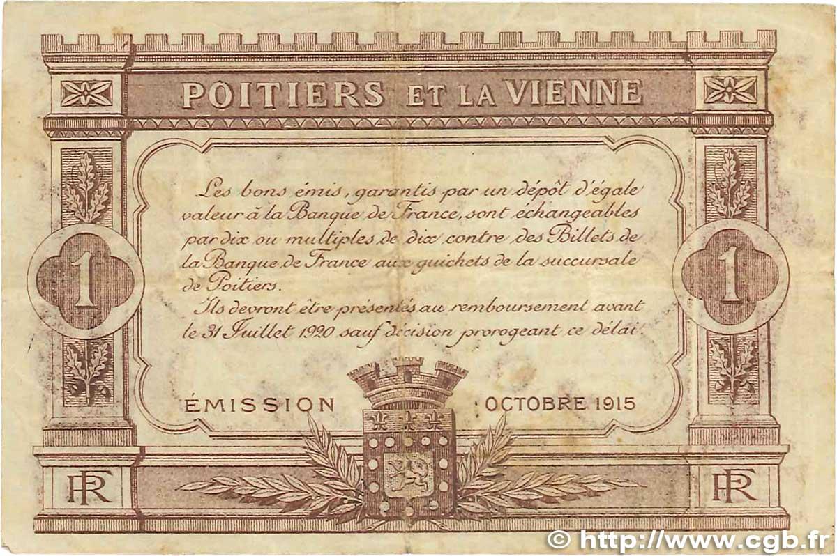 1 franc france r gionalisme et divers poitiers 1915 for Poitier numero departement