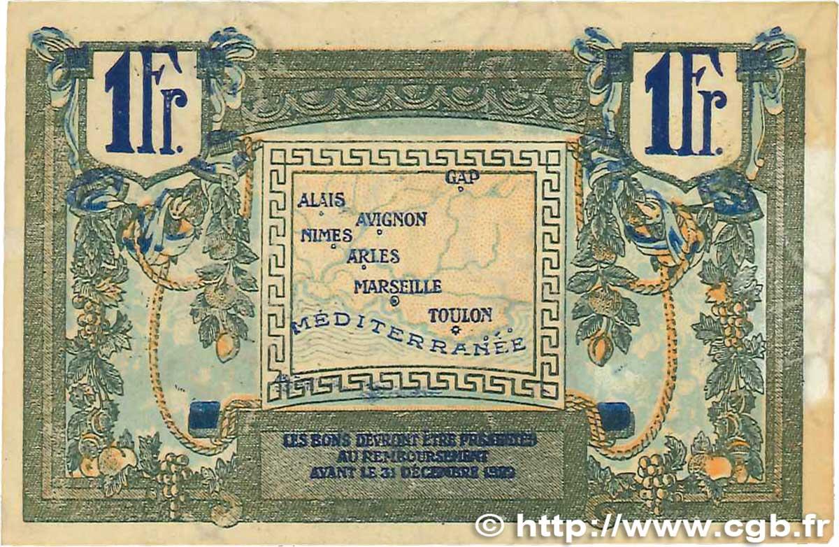 1 franc france r gionalisme et divers alais arles for Chambre de commerce marseille