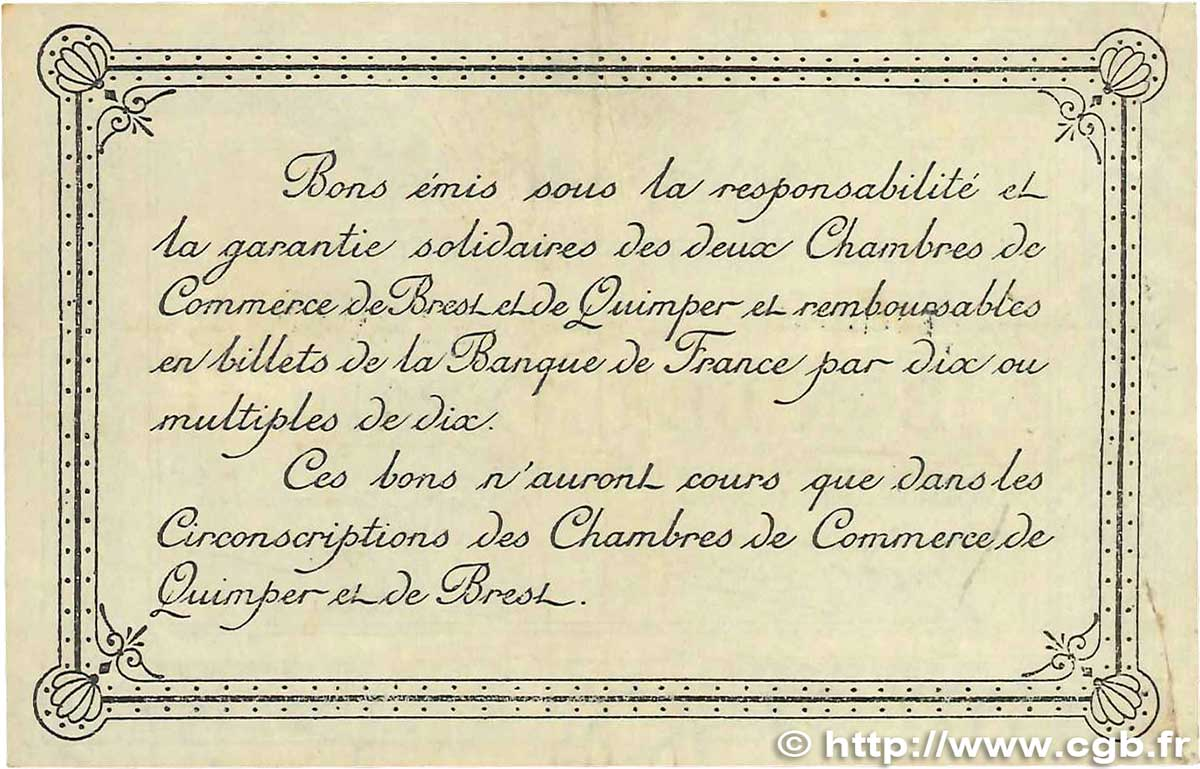 1 franc france r gionalisme et divers quimper et brest 1915 ttb b99 1510 billets - Chambre de commerce de brest ...