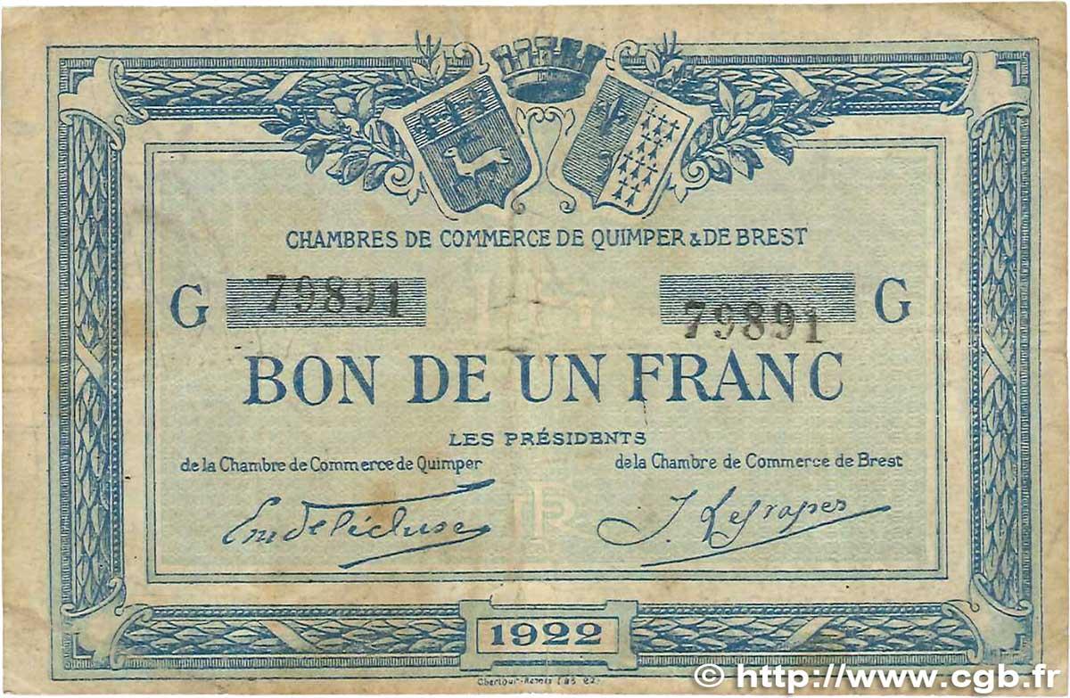 1 franc france r gionalisme et divers quimper et brest 1922 b99 1528 billets - Chambre de commerce de brest ...