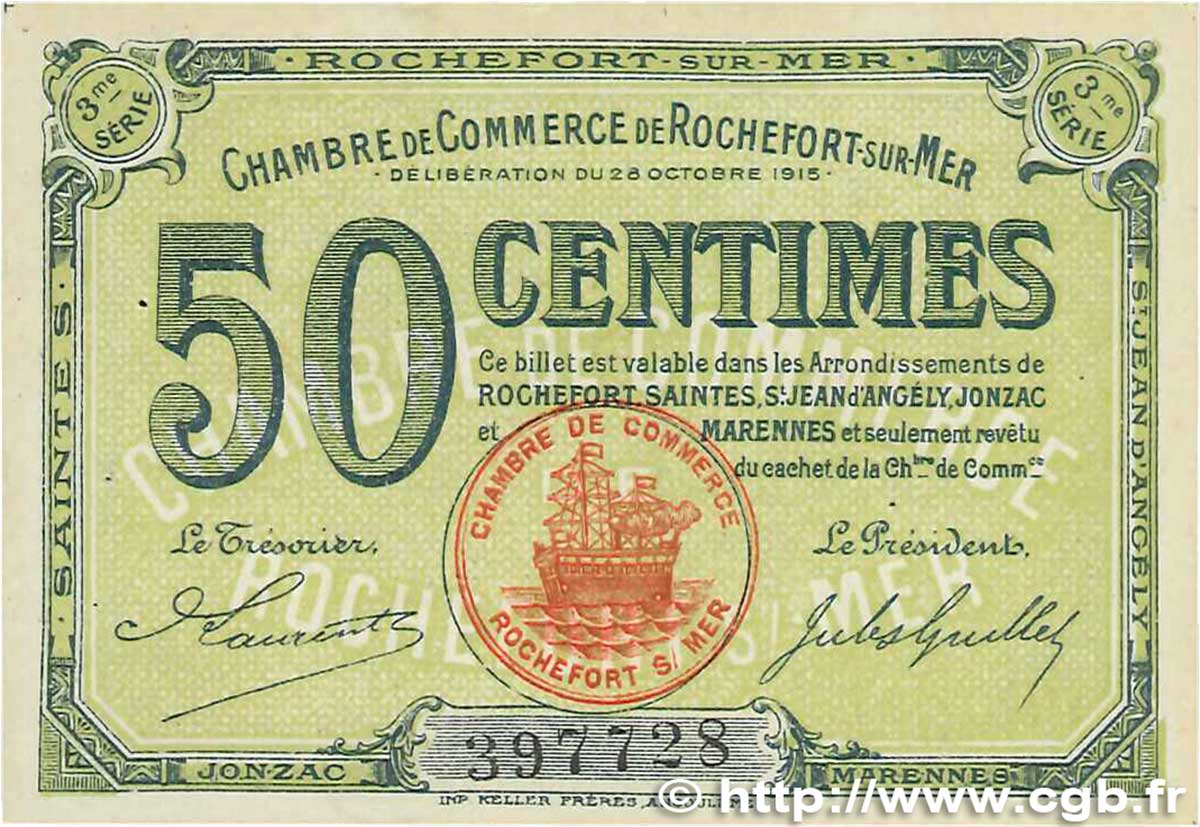50 Centimes  FRANCE regionalism and miscellaneous Rochefort-Sur-Mer 1915 JP.107.11 VF+