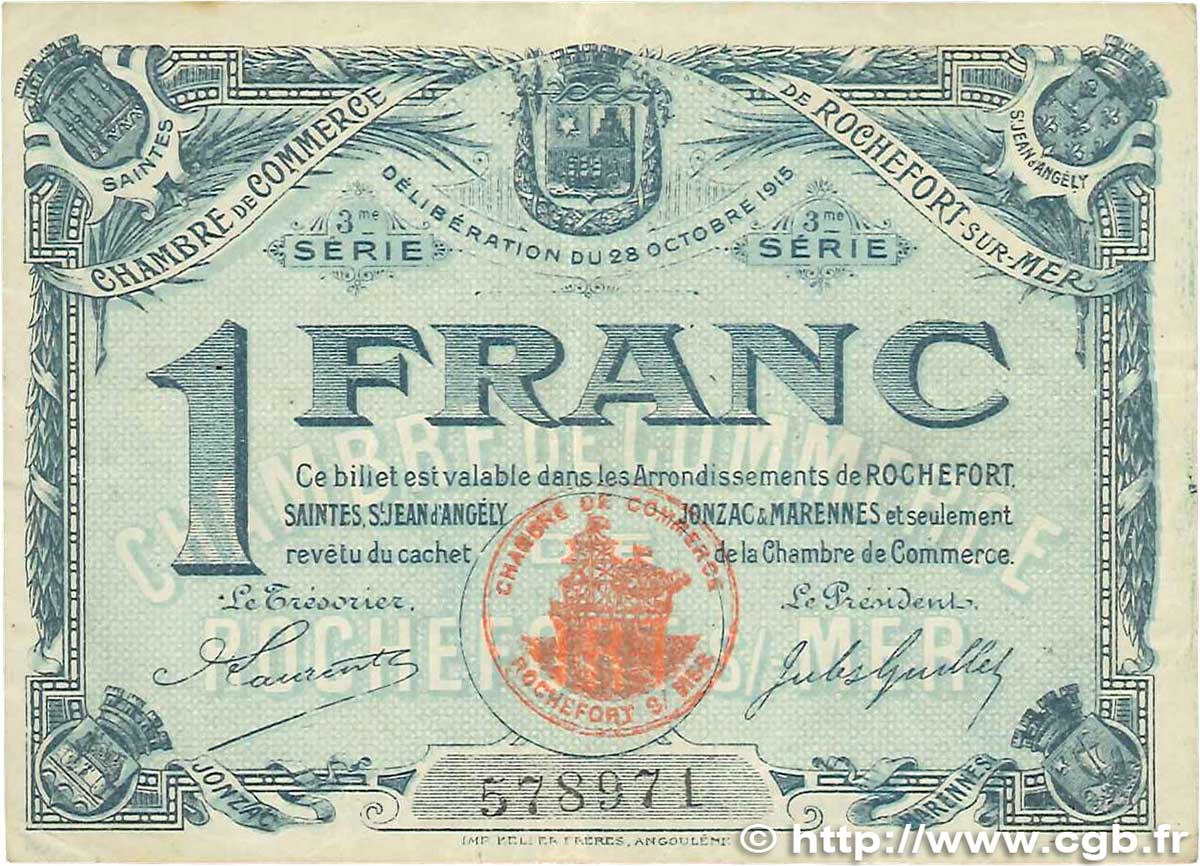 1 franc france regionalism and various rochefort sur mer for Chambre de commerce angouleme