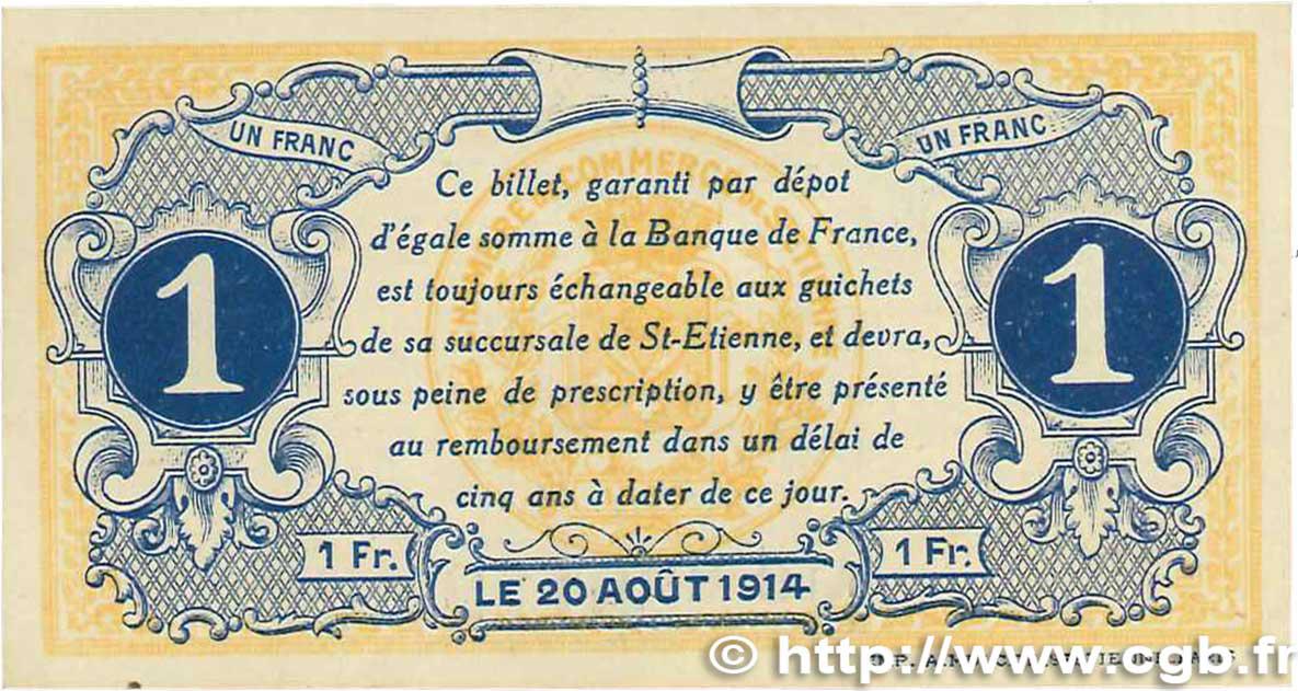1 franc france r gionalisme et divers saint tienne 1914 ttb b99 1742 billets - Chambre de commerce saint etienne ...