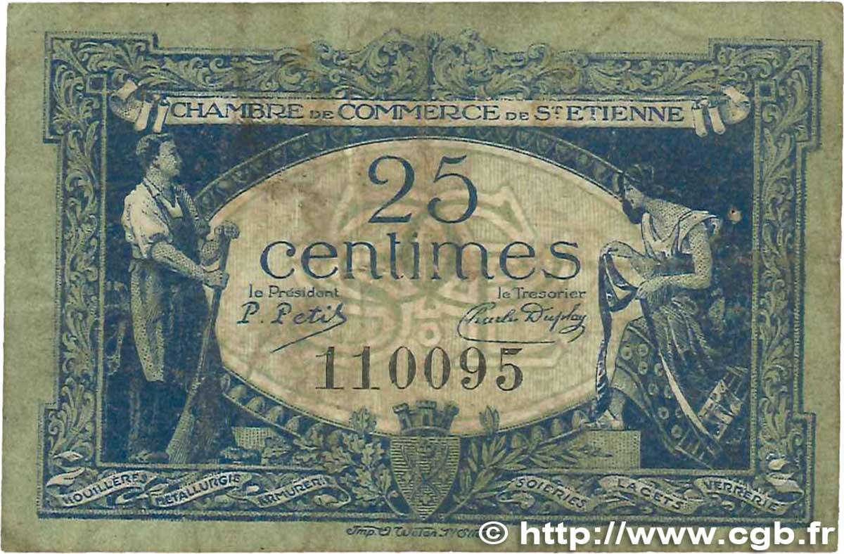 25 centimes france r gionalisme et divers saint tienne 1921 b99 1749 billets - Chambre de commerce saint etienne ...