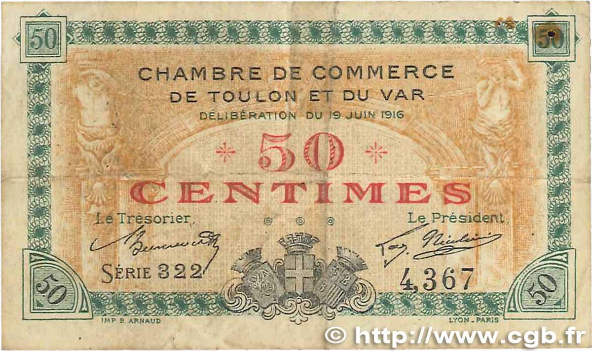 50 centimes france r gionalisme et divers toulon 1916 b99 1870 billets. Black Bedroom Furniture Sets. Home Design Ideas