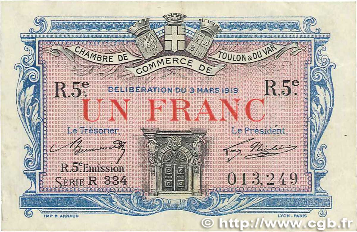1 franc france regionalism and miscellaneous toulon 1919 b99 1890 banknotes. Black Bedroom Furniture Sets. Home Design Ideas