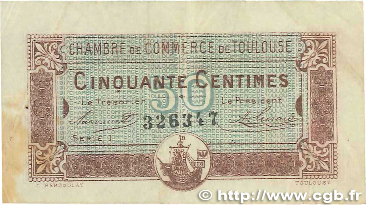 50 Centimes FRANCE regionalismo e varie Toulouse 1917 JP.122.22 MB