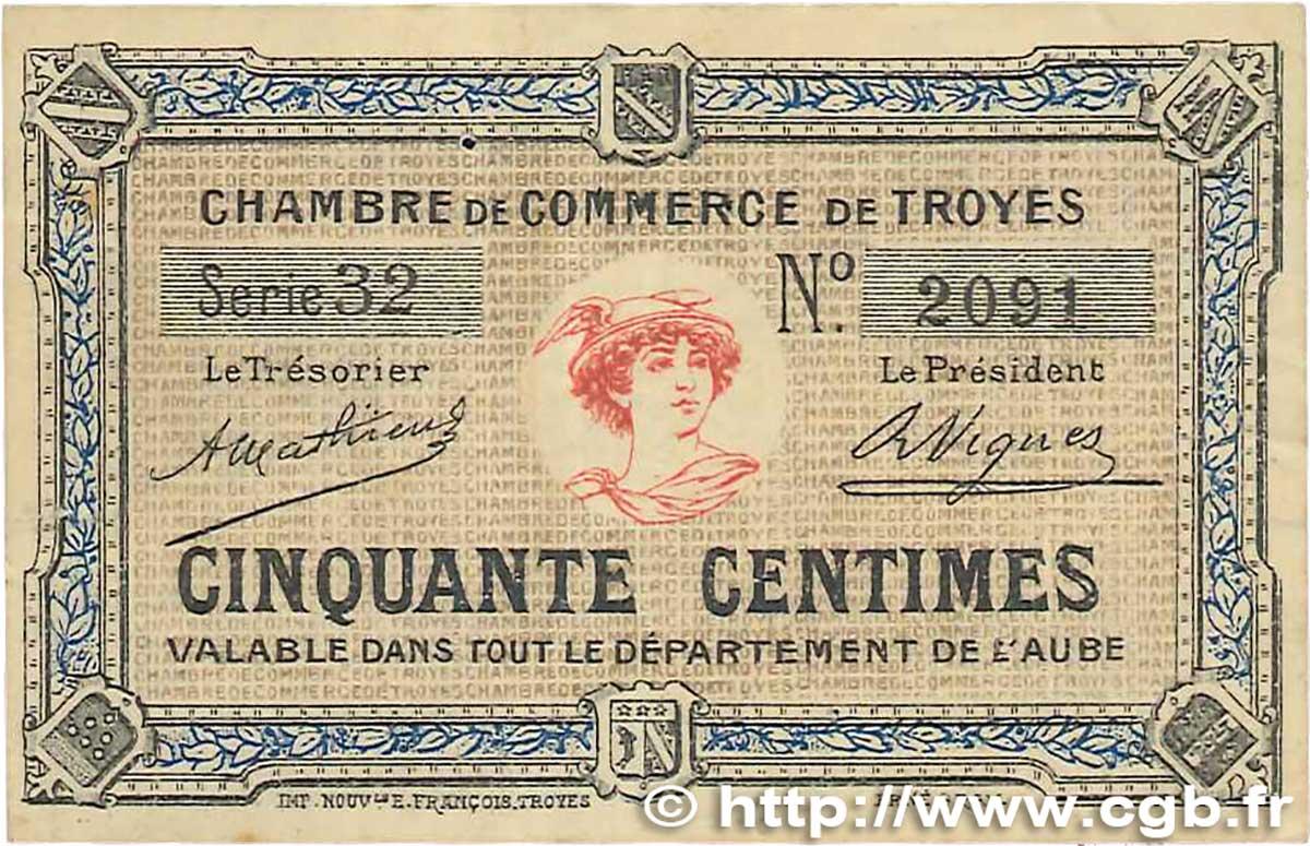 50 centimes france r gionalisme et divers troyes 1918 b99 1987 billets. Black Bedroom Furniture Sets. Home Design Ideas